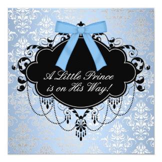 Blue Black Damask Prince Baby Boy Shower 13 Cm X 13 Cm Square Invitation Card