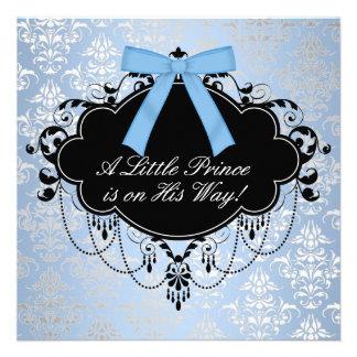 Blue Black Damask Prince Baby Boy Shower Custom Invites