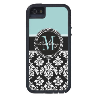BLUE, BLACK DAMASK, YOUR MONOGRAM ,YOUR NAME iPhone 5 CASE