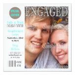 Blue black engagement couple PERSONALIZE Invite