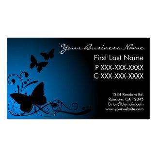 Blue black fade butterfly swirls business cards