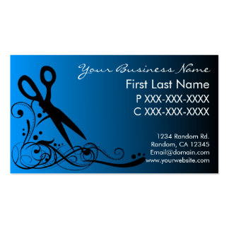 Blue black fade hair cutting business cards