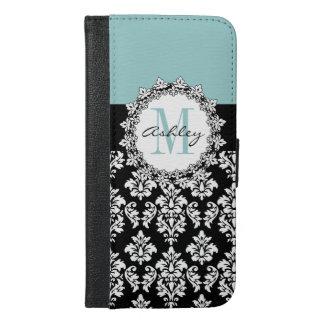 Blue Black Fleur de Lis Damask Monogram iPhone 6/6s Plus Wallet Case