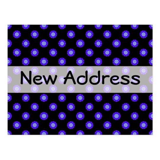 blue black floral New Address Postcard