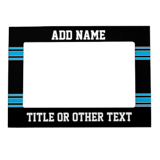 Blue Black Football Jersey Custom Name Number Magnetic Picture Frame