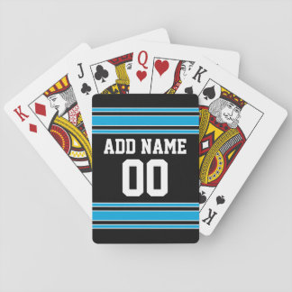 Blue Black Football Jersey Custom Name Number Playing Cards