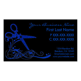 Blue black glitter swirl hair cut business cards