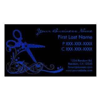 Blue black glitter swirl hair cut business cards