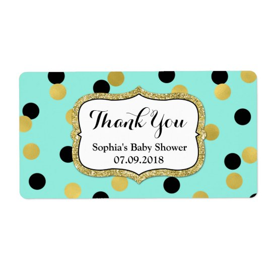 Blue Black Gold Confetti Baby Shower Labels