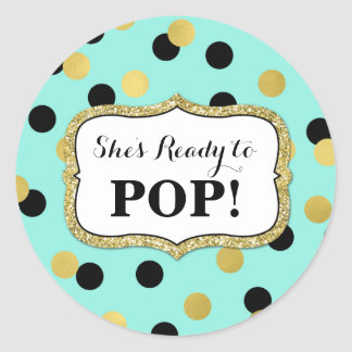 Blue Black Gold Confetti Baby Shower Ready to Pop Round Sticker