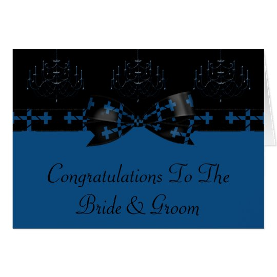 Blue & Black Gothic Chandelier & Cross Wedding Card