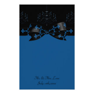 Blue & Black Gothic Chandelier & Cross Wedding Customized Stationery