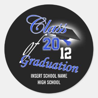 "Blue black graduation ""class of"" announcement round sticker"