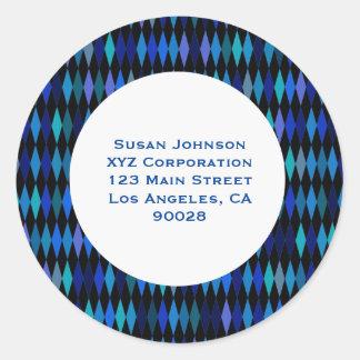 Blue Black Harlequin Pattern Round Stickers