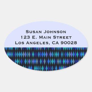 Blue Black Harlequin Pattern Oval Stickers