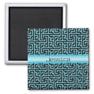 Blue & Black Labyrinth Square Magnet