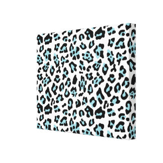 Blue Black Leopard Animal Print Pattern Gallery Wrapped Canvas