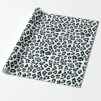 Blue Black Leopard Animal Print Pattern Wrapping Paper