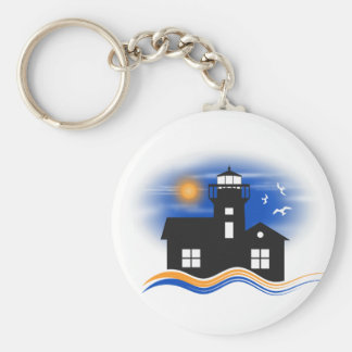 Blue Black Lighthouse Seascape Classic Key Rings Basic Round Button Key Ring