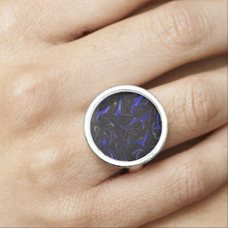 Blue Black Liquefied Outer Space Silver Dress Ring