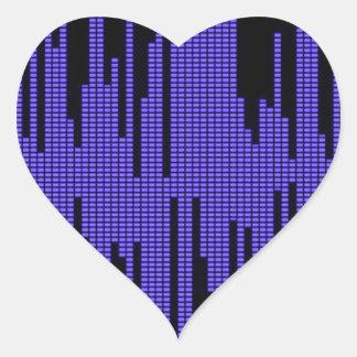 BLUE BLACK MUSIC BEATS VOLUME RECORDING DIGITAL HEART STICKER