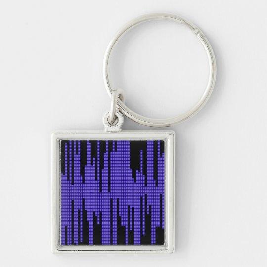 BLUE BLACK MUSIC BEATS VOLUME RECORDING DIGITAL Silver-Colored SQUARE KEY RING