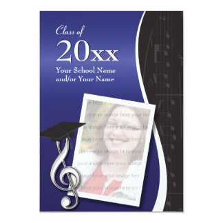 Blue & Black Music Graduation Invitation