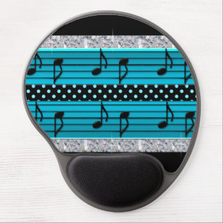 Blue & Black Polka Dot Diamonds & Musical Notes Gel Mouse Mat