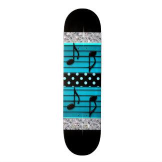 Blue & Black Polka Dot Diamonds & Musical Notes Skateboard Decks