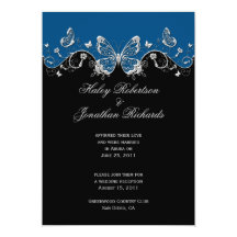 Blue Black Silver Butterflies Post Wedding 13cm X 18cm Invitation Card