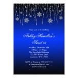 Blue Black Snowflakes Sweet 16 Winter Wonderland Personalized Invitation