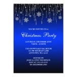 Blue Black Sparkle Snowflakes Christmas Party 13 Cm X 18 Cm Invitation Card