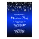 Blue Black Sparkle Snowflakes Christmas Party Personalized Invitation