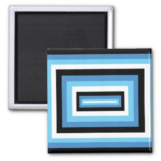 Blue/Black Squares Square Magnet