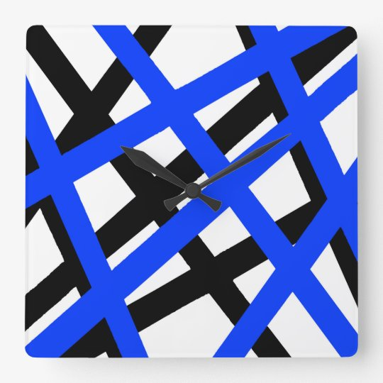 Blue Black Stripe Geometric Square Wall Clock