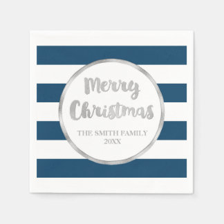 Blue Black Stripes Merry Christmas Napkin Disposable Napkin