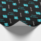 Blue Black Sweet 16 Personalised Wrapping Paper