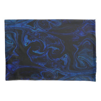Blue Black Swirl Abstract Smoky Cool Pillowcase