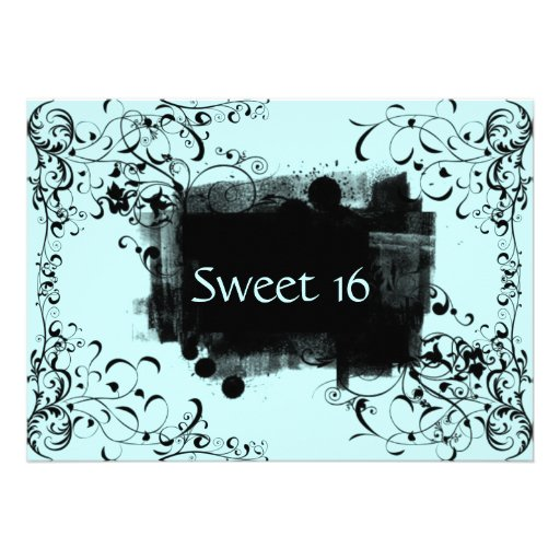 Blue & Black Swirl Sweet Sixteen Party Invitations