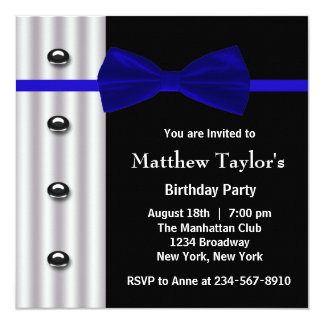 Blue Black Tuxedo Bow Tie Mens Birthday Party 13 Cm X 13 Cm Square Invitation Card
