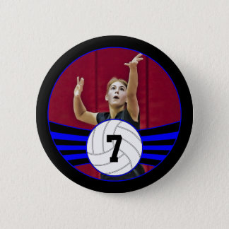 Blue & Black Volleyball Photo and Jersey Number 6 Cm Round Badge