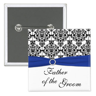 Blue Black White Damask Father of the Groom Pin