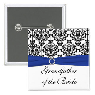Blue Black White Damask Grandfather of the Bride Pinback Buttons