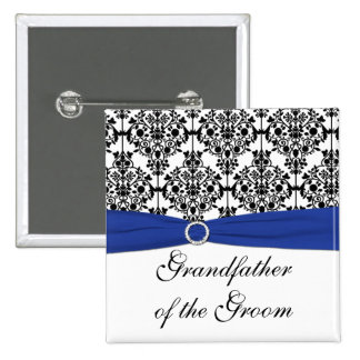 Blue Black White Damask Grandfather of the Groom Pinback Button
