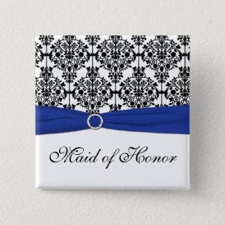 Blue Black White Damask Maid of Honor Pin