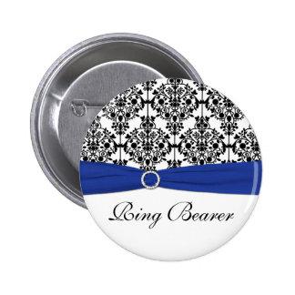 Blue Black White Damask Ring Bearer Pin