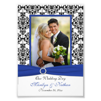 Blue Black White Damask Wedding Photo Print