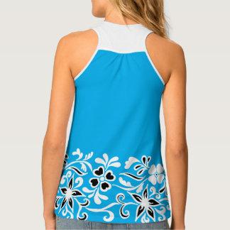 Blue, black & white floral pattern tank top
