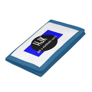 Blue black & white monogram add date wallet
