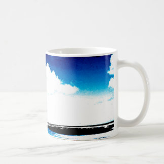 Blue Black White palm Tree Silhouette Basic White Mug